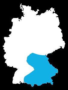 Landkarte Deutschland Vertriebsteam Süd