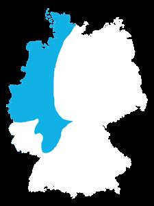 Landkarte Deutschland Vertriebsteam West